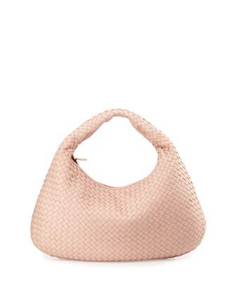 Veneta Large Woven Hobo Bag, Petal