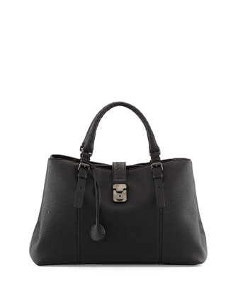 Roma Triple-Compartment Pebbled Leather Tote Bag, Black