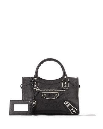 Metallic Edge Mini City Shoulder Bag, Black