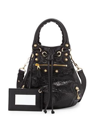 Giant 12 Golden Mini Pompon Bag, Black