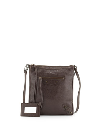 Classic Flat Crossbody Bag, Gray