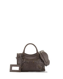 Metallic Mini City Shoulder Bag, Gray