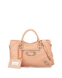 Metallic Edge Classic City Bag, Pink