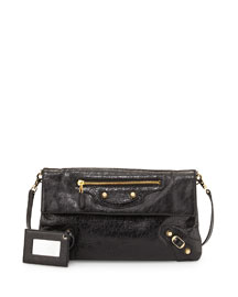 Classic Envelope Clutch Bag with Strap, Black