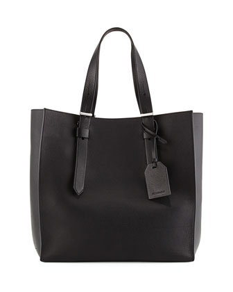 Krush Milled Leather Tote Bag, Black