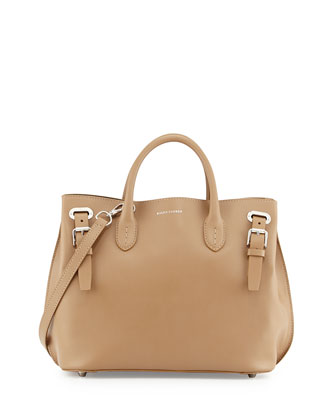 Ricky Smooth Calfskin Grommet Tote Bag, Sand