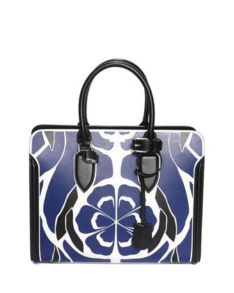 Heroine Floral-Print Calfskin Open Tote Bag, Navy