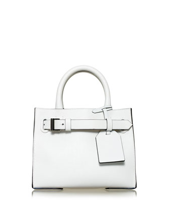 RK40S Small Belted Leather Tote Bag, White