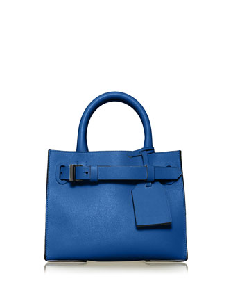 RK40S Small Belted Leather Tote Bag, Cobalt