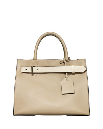 RK40 Medium Belted Leather Tote Bag, Neutral
