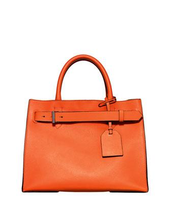 RK40 Medium Belted Leather Tote Bag, Orange