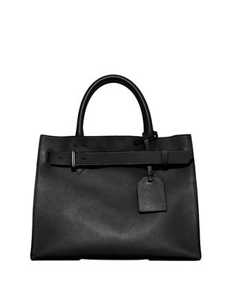 RK40 Medium Belted Leather Tote Bag, Black