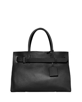 RK40L Large Belted Leather Tote Bag, Black