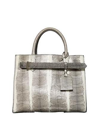 RK40 Medium Snakeskin Belted Tote Bag, Black/White