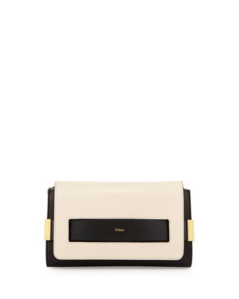 Elle Clutch Bag with Shoulder Strap, Black/White