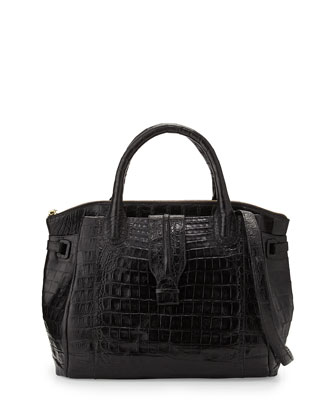New Cristina Medium Crocodile Tote Bag, Black