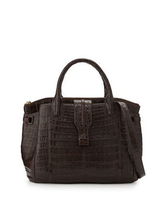 New Cristina Medium Crocodile Tote Bag, Chocolate
