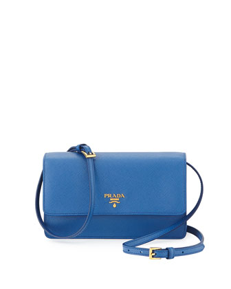 Saffiano Mini Crossbody Bag, Blue