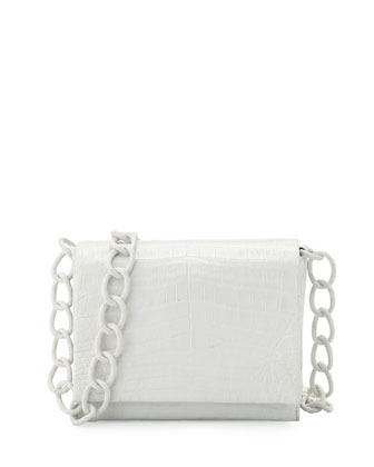 Small Crocodile Chain Crossbody Bag, White