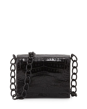 Small Crocodile Chain Crossbody Bag, Black Patent