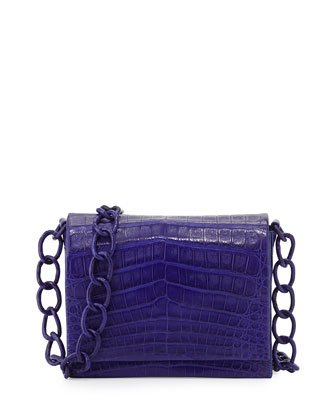 Small Crocodile Chain Crossbody Bag, Blue