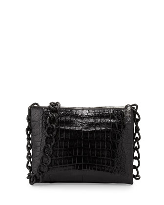 Small Two-Pocket Flat Crocodile Messenger Bag, Black