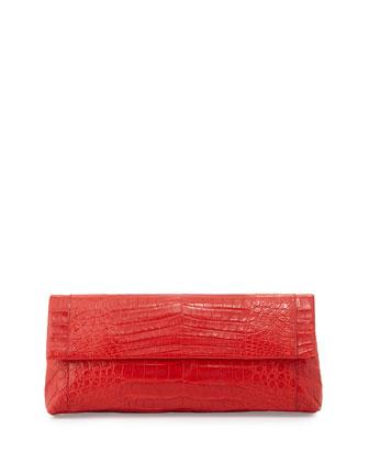 Back-Pocket Crocodile Clutch Bag, Red