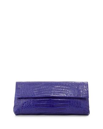 Back-Pocket Crocodile Clutch Bag, Cobalt