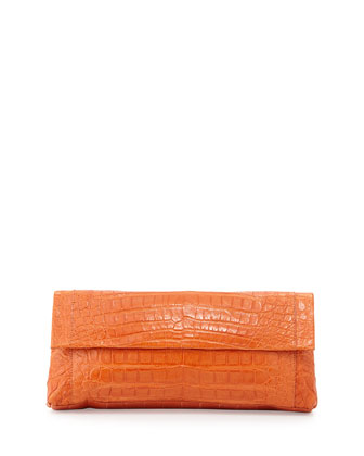 Back-Pocket Crocodile Clutch Bag, Orange