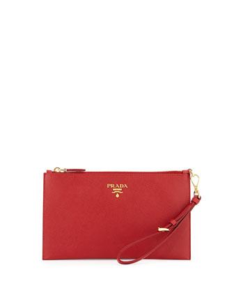 Saffiano Flat Zip Wristlet, Red (Fuoco)