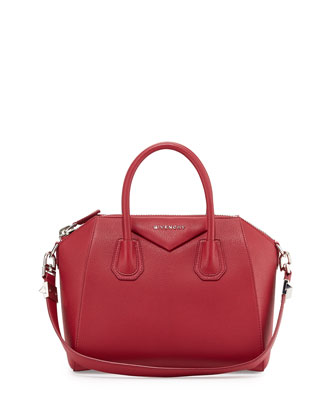 Antigona Small Grained Leather Satchel Bag, Red