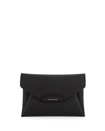 Antigona Medium Rubber Envelope Clutch Bag, Black