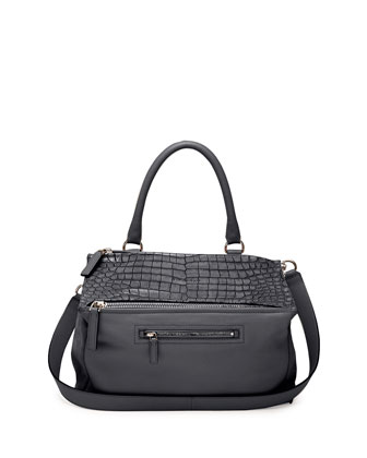 Pandora Medium Stamped Crocodile Shoulder Bag, Black
