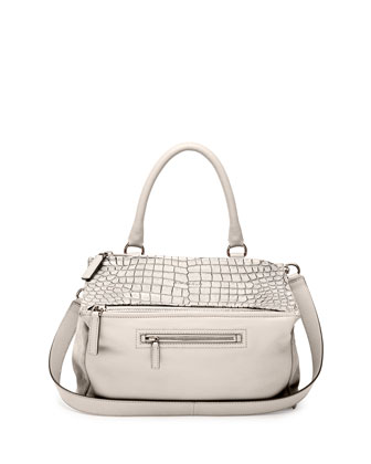 Pandora Medium Stamped Crocodile Shoulder Bag, Off White