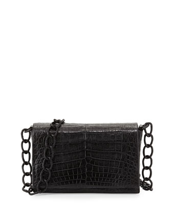 Medium Crocodile Flap-Top Crossbody Bag, Black