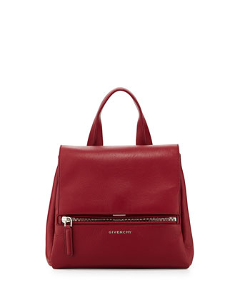 Pandora Small Leather Satchel Bag, Red