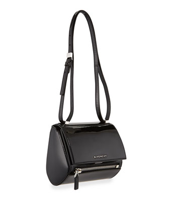 Pandora Mini Patent Shoulder Box Bag, Black