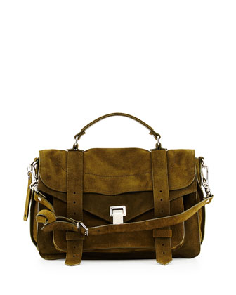PS1 Suede Medium Satchel Bag, Olive