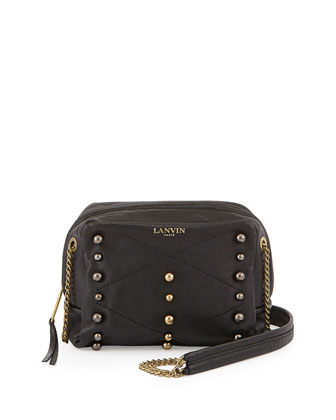 Mini Sugar Studded Crossbody Bag, Black
