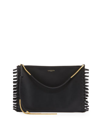 Zipped Knot-Fringe Clutch Bag, Black