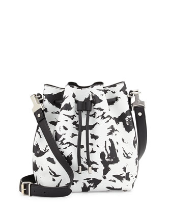 Medium Feather-Print Bucket Bag, Black/White