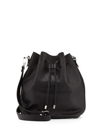 Large Leather Bucket Bag, Black
