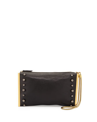 Studded Framed Zip Clutch, Black