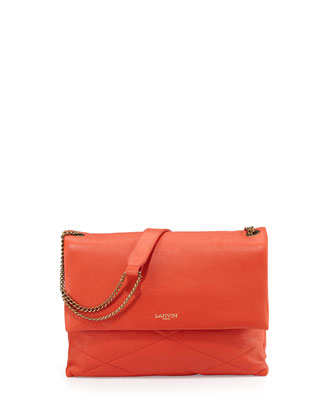 Sugar Lambskin Shoulder Bag, Red-Orange
