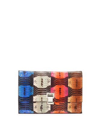Small Lunch Multicolor Striped Snakeskin Clutch Bag