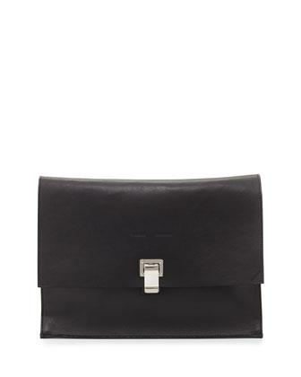 Large Leather Lunch Bag w/ Metallic Interior, Black