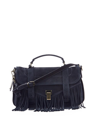 PS1 Medium Fringe Satchel Bag, Navy