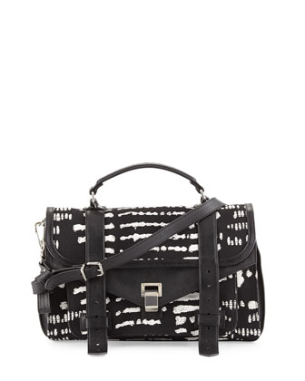 PS1 Medium Woodblock Jacquard Satchel Bag, Black/White