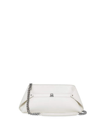 Ai Small Leather Pochette Bag, White