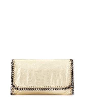 Falabella Metallic Snake-Embossed Clutch Bag, Gold
